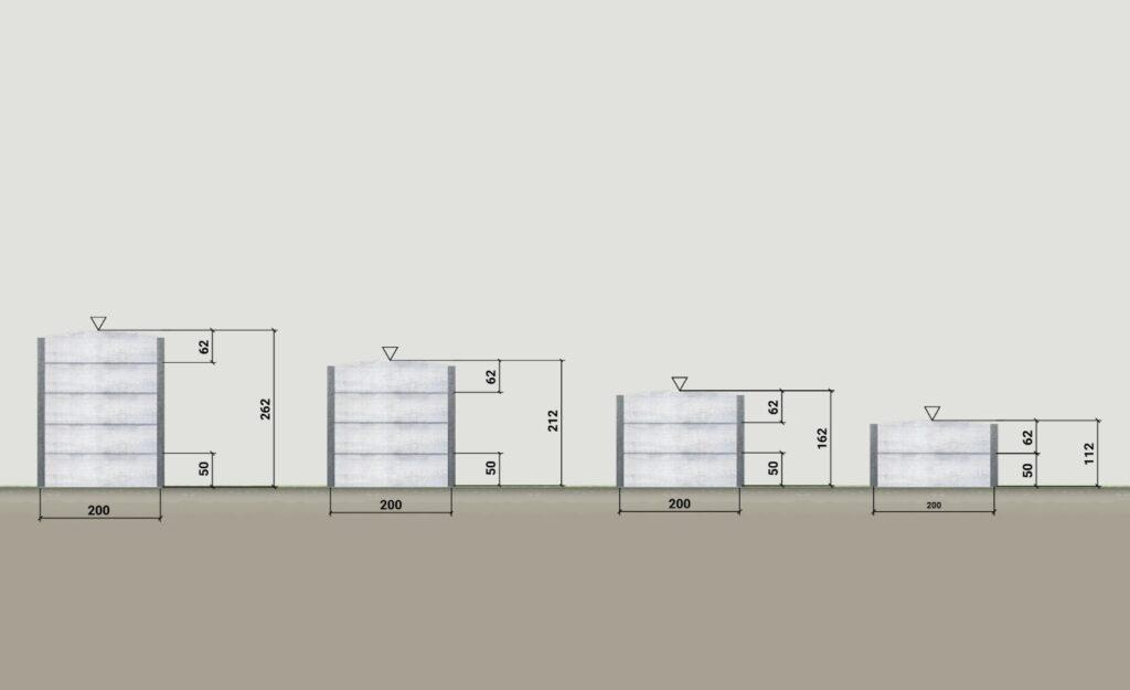 betonový plot rozměry